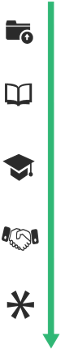 A file folder, book, graduation cap, handshake, and asterisk