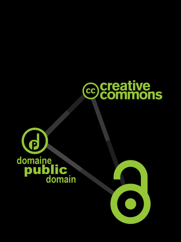 Artistic representation of alternatives to copyright, including Creative Commons, Open Access and the Public Domain